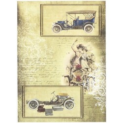 Papír rýžový A4 Vintage auta, dozelena