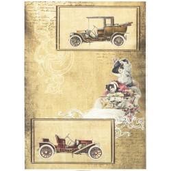 Papír rýžový A4 Vintage auta, dobéžova