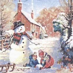 Děti staví sněhuláka 33x33