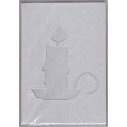 5 dvojlistých přáníček s výsekem svíčka - stříbrné, + vkládací listy + obálky (F)