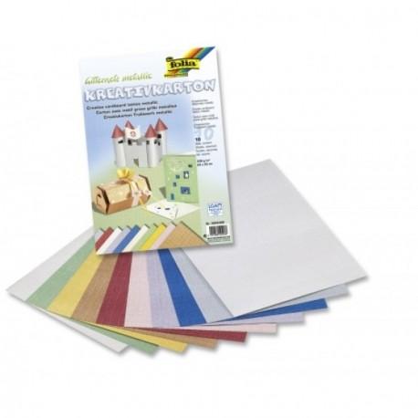 Kreativní karton 230g, 10ks, Pletivo metallic (F)