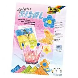 Sisal s glitterem 135g, 5 listů 23x33cm, mix barev (F)