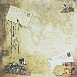 Historická mapa, vlak - scrap.papír 31,5x32,5 200g