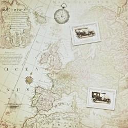 Historická mapa, auto - scrap.papír 31,5x32,5 200g