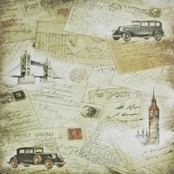 Vintage dopisy, Londýn - scrap.papír 31,5x32,5 200g