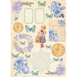 Scrap.papír A4 Vintage Time, s modrou růží