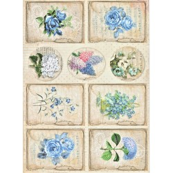 Scrap.papír A4 Vintage Time, kartičky s modrými kv
