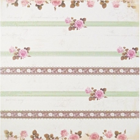 Proužky s růžičkami 30,5x30,5 designový papír (F)