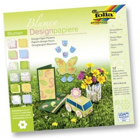 Design.papír v bloku - Květiny, 30,5x30,5cm, 12 listů (F)