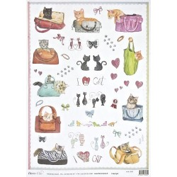 Papír rýžový 35x50 Miluji kočky