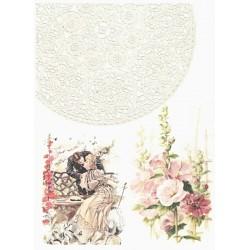 Papír rýžový Retro, krajka, zamilovaní