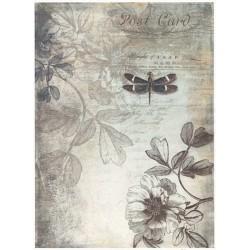 Papír rýžový A4 Post Card, vážka, květy