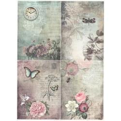 Papír rýžový A4 Čtyři obrázky vintage s květinami