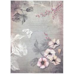 Papír rýžový A4 Růžové květy, červené kuličky na větvičce