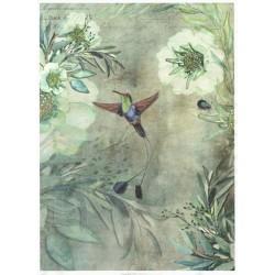 Papír rýžový A4 Kolibřík, květy, dozelena