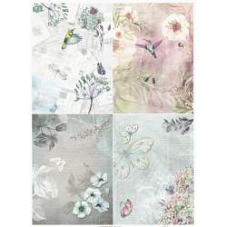 Papír rýžový A4 Čtyři obrázky s květy v pastelových barvách