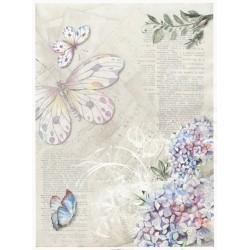 Papír rýžový A4 Šeřík, motýlci, text