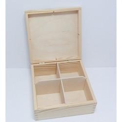 Krabička na čaj 4 komory (bez zámečku)NEM