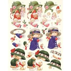 Papír 3D - Dívky s klobouky A4 (Morehead)