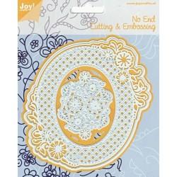 Vyřezávací šablony - krajkový rámeček s květinami (JC)