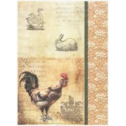 Papír rýžový A4 Vintage kohout, kachny, zajíc