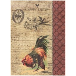 Papír rýžový A4 Vintage kohout, kolo, písmo