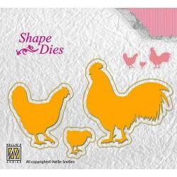 Vyřezávací šablony - kuřecí rodina (Shape Dies)