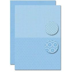 Papír na pozadí A4 - Baby modrý, květy