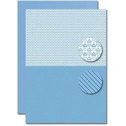 Papír na pozadí A4 - Baby modrý, srdíčka