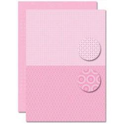 Papír na pozadí A4 - Baby růžový, květy