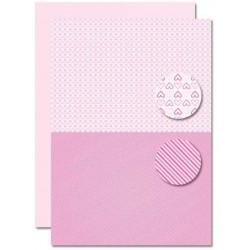 Papír na pozadí A4 - Baby růžový, srdíčka