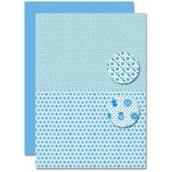 Papír na pozadí A4 - Baby modrý, drobné motivy
