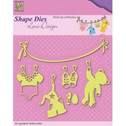 Vyřezávací šablony - Baby, prádlo na šňůře (Shape Dies)