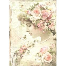 Papír rýžový A4 Dívka s růžemi