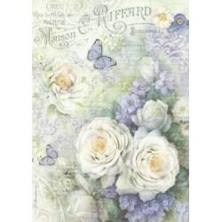 Papír rýžový A4 Bílé růže, motýlci, písmo