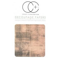 Staré noviny - set 3 papírů pro decoupage CC
