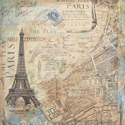 Mapa Paříže 30,5x30,5 scrapbook