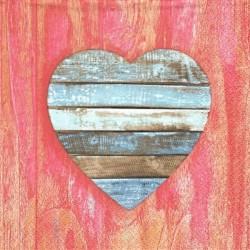 Dřevěné srdce na dřevě 33x33