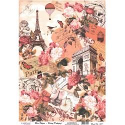 Rýžový papír A4 Koláž Paris s růžemi