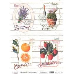 Rýžový papír A4 Květiny a ovoce na bílém dřevě