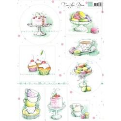 Papír A4 - dort, makronky, čaj