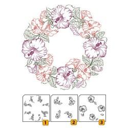 Transp.razítka k vrstvení, 3 ks - květinový věnec (Nellie Snellen)