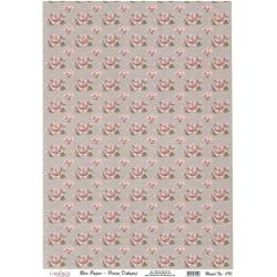 Rýžový papír A4 Růžové růžičky na šedé