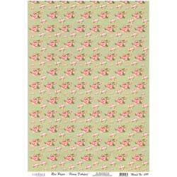 Rýžový papír A4 Růžičky na zelené