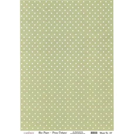 Rýžový papír A4 Bílé puntíky na zelené