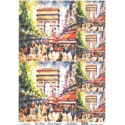 Rýžový papír A4 Paris Vítězný oblouk, malovaný