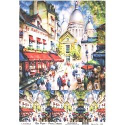Rýžový papír A4 Montmart a Sacre Coeur, malovaný
