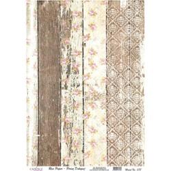 Rýžový papír A4 Hnědobílé dřevo s potiskem
