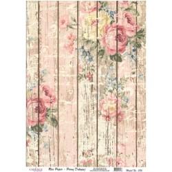 Rýžový papír A4 Růže malované na dřevě