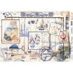 Rýžový papír A4 Menší námořní motivy na dřevě
